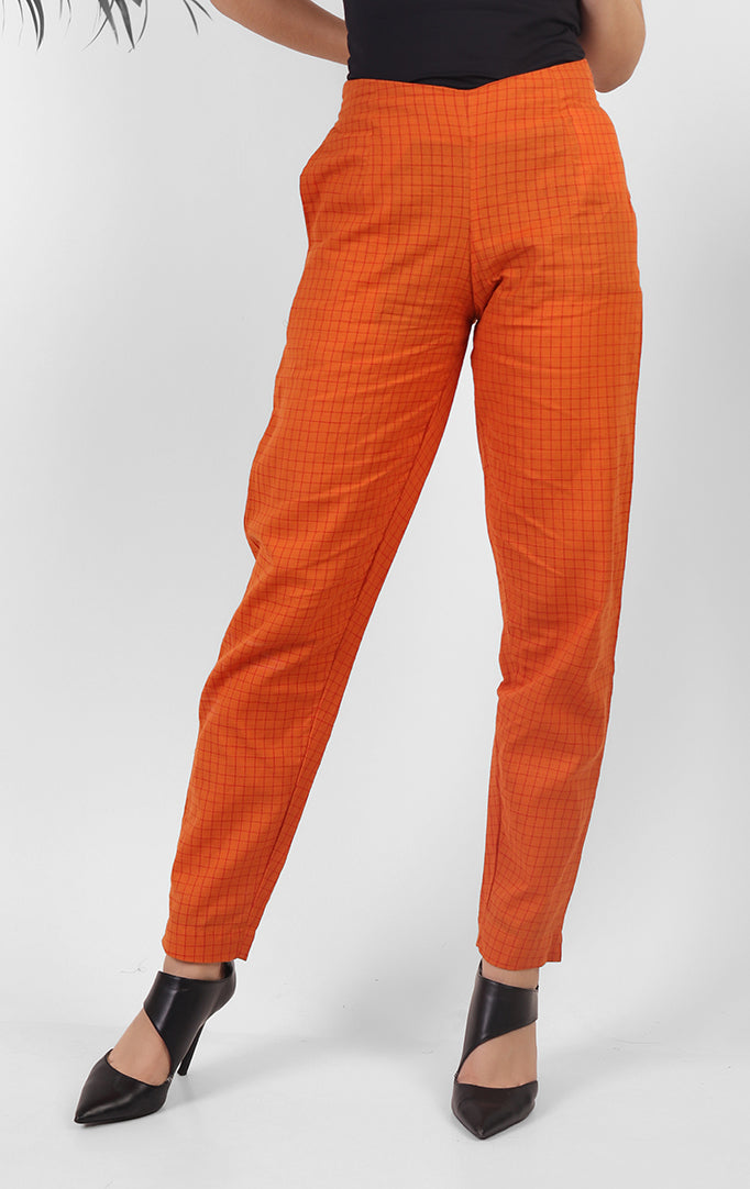 Bright Orange Checkered Pants