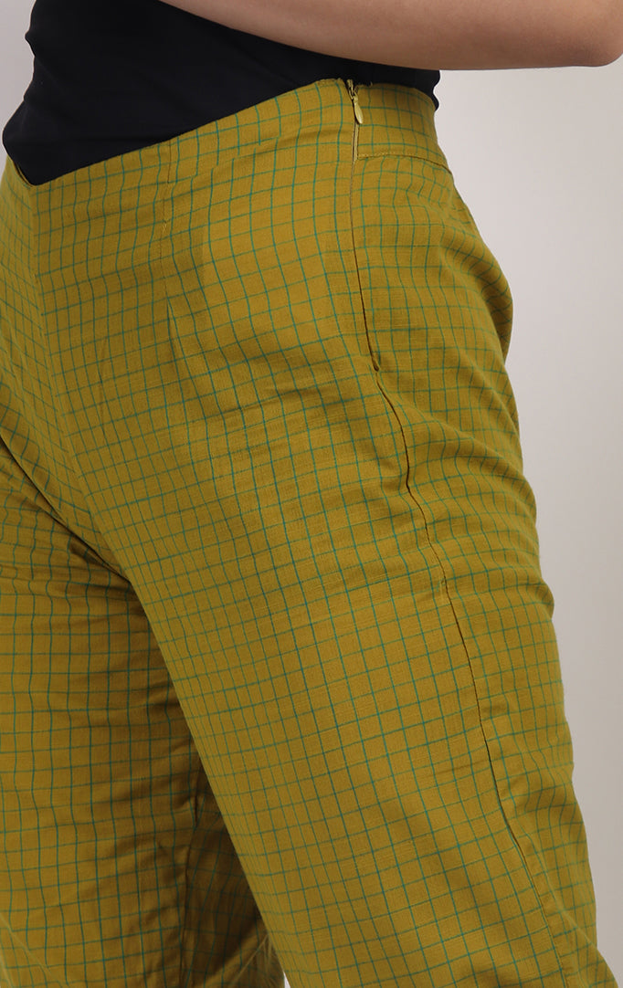 Green Checkered Pants with Pockets