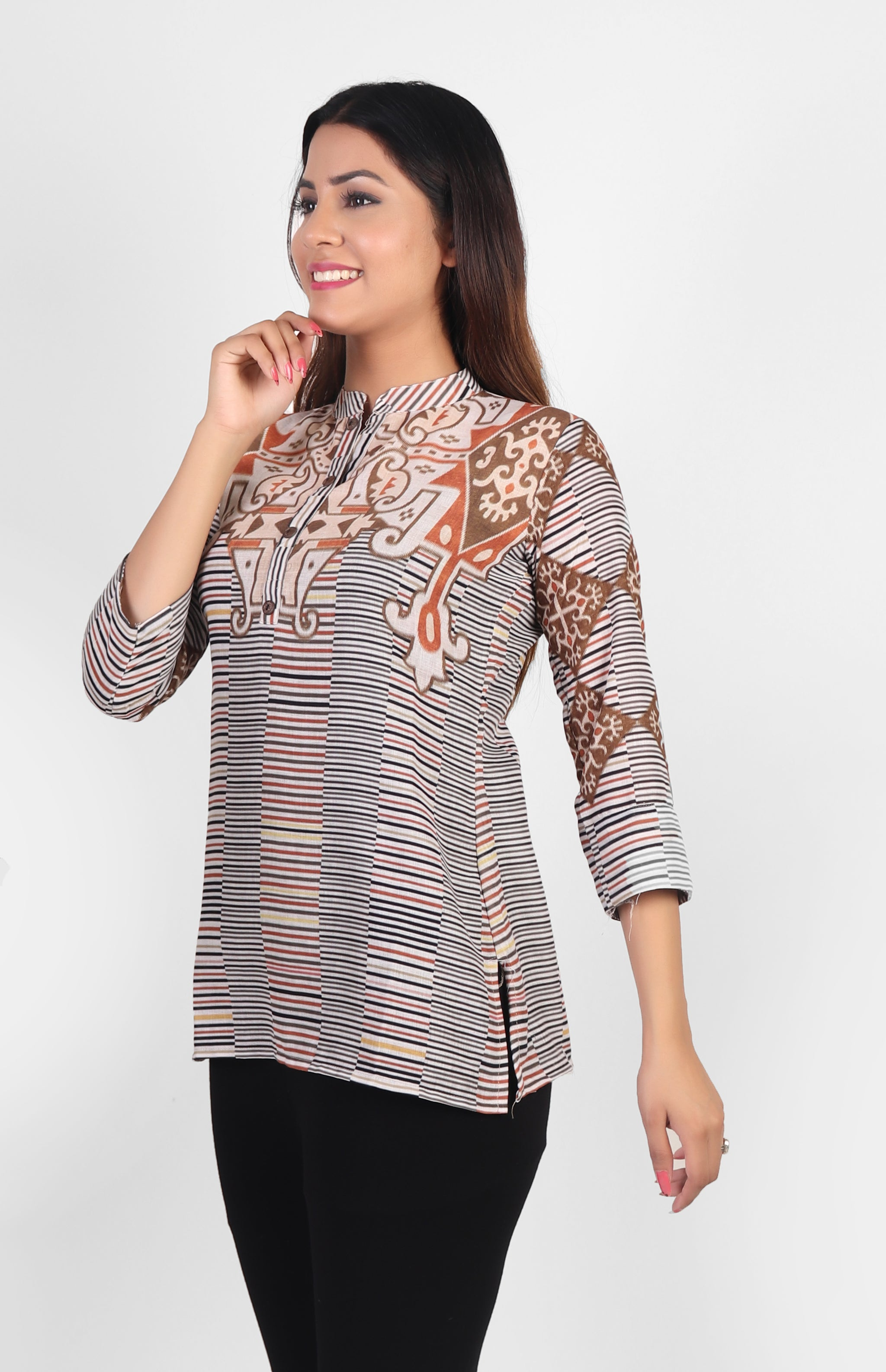 Cotton Top with Stripes and Pattern