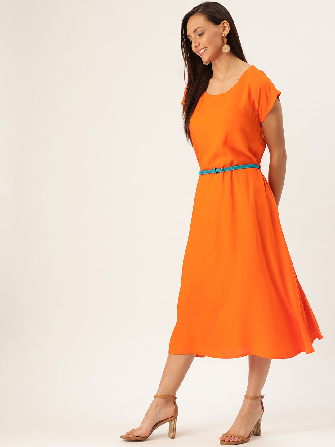 Orange Dress Aqua Belt