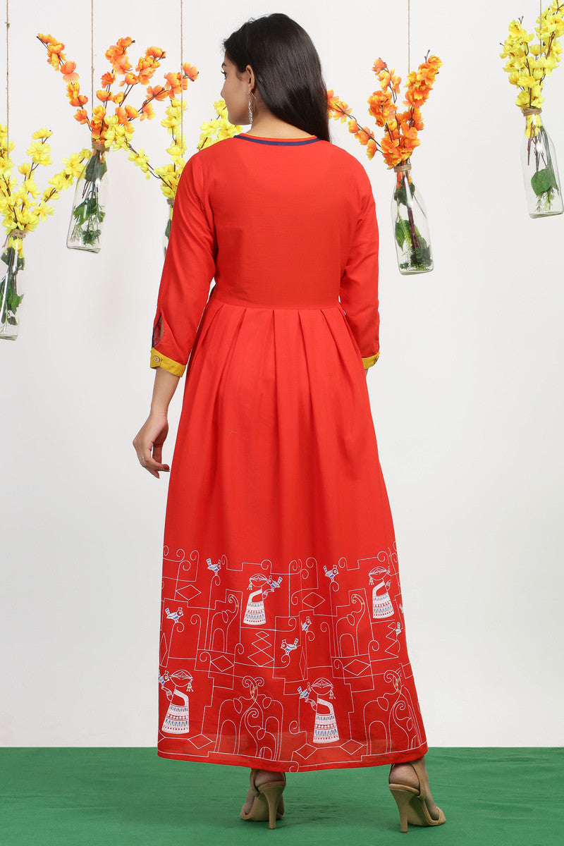 Red Maxi Dress with Printed Figurines