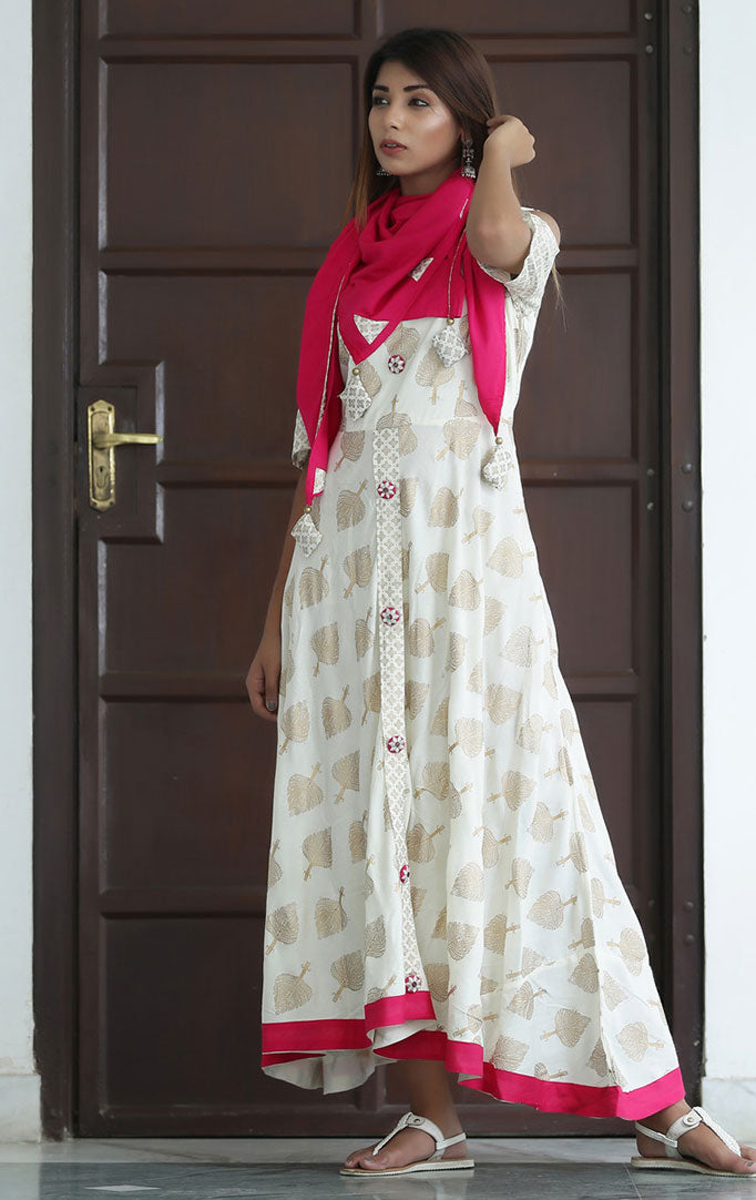 White Gold Anarkali Dress with Pink Stole