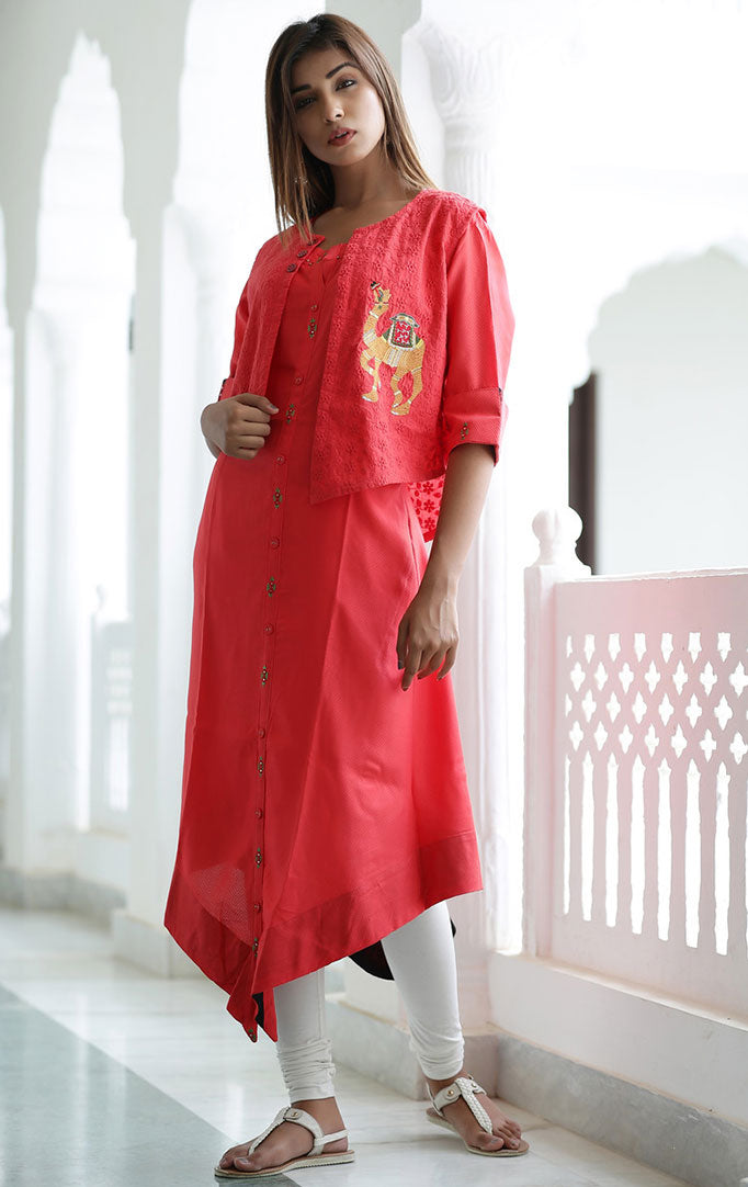 Asymmetric Kurti Jacket Set in Red
