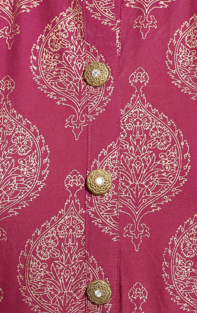 Block Printed kurta with Palazzo in Maroon