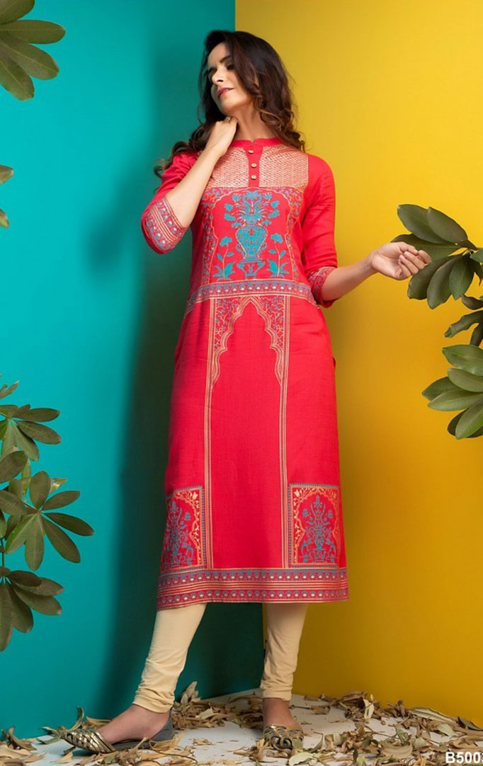Mughal Inspired Kurta With Three Quarter Sleeves