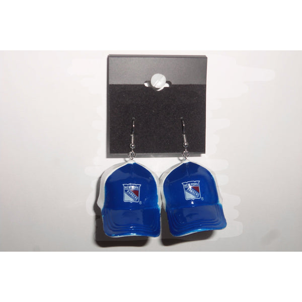 "NHL New York Rangers Dangling Earrings Mini 2"" Plastic 2-Tone Hat From Top"