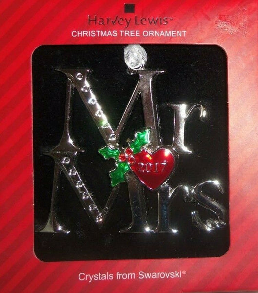 Harvey Lewis Romantic Font 2017 Mr and Mrs Silver Swarovski Crystals Ornament