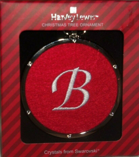 Harvey Lewis Monogram White B on Red Cloth Silver Swarovski Crystals Ornament