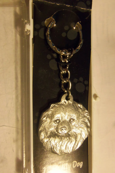 I Heart My Pomeranian Face Key Chain Fine Pewter