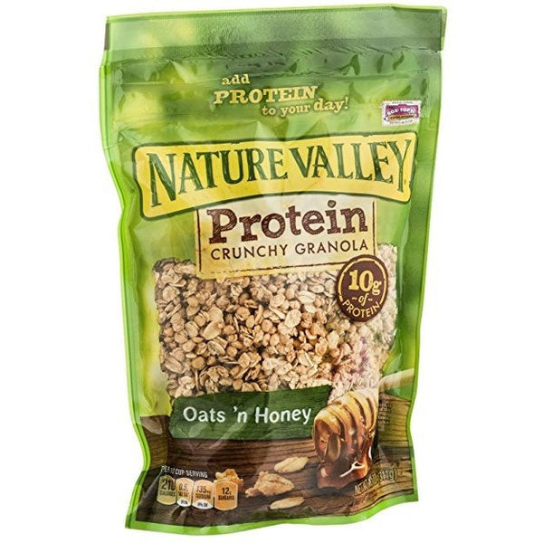 1 Bag Nature Valley Oats 'n Honey Protein Granola 11 Oz. Pouch Best By Date 7/05/2017