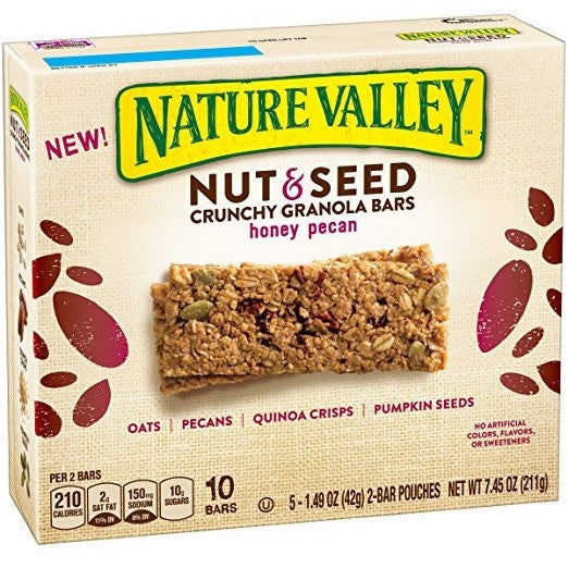 5-1.49 oz Nature Valley Nut & Seed Honey Pecan Crunchy Granola Bars Pouches 7.45 Oz Best By Date 3/27/2017