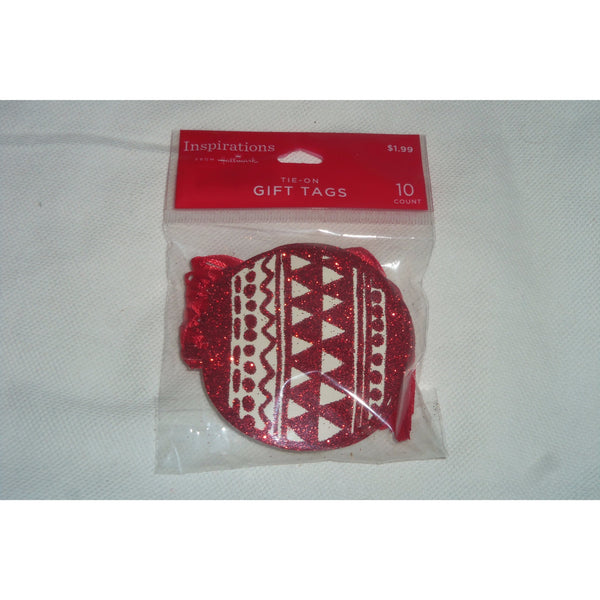 10 Hallmark Red Ornament Paper Christmas Gift Tags Tie-on w/Ribbon Inspirations