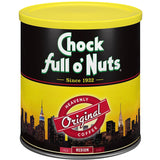 Lot of 2 Cans Chock full o' Nuts Coffee Original Med. Roast 11.3oz Best By Date 2019
