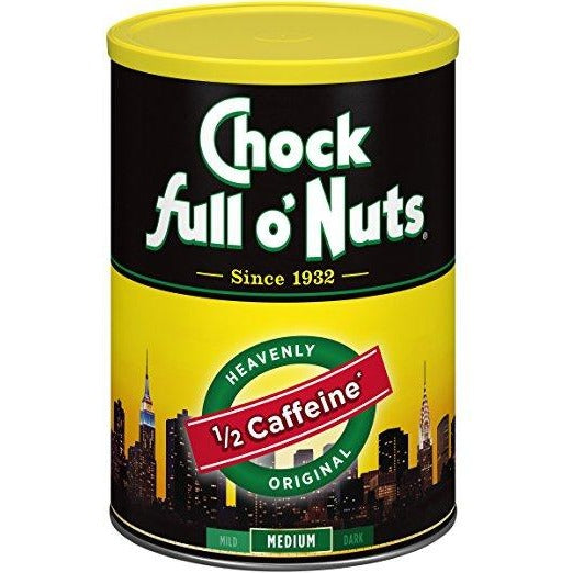 Lot of 2 Cans Chock full o' Nuts Coffee 1/2 Caffeine 10.3oz Best By Date 2019