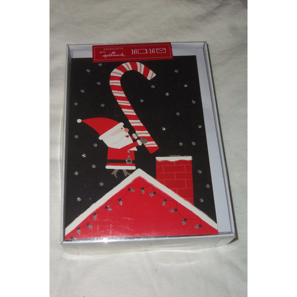 "seasons from Hallmark Santa on Roof Christmas Cards 16 & Envelopes 7""x4.75"""
