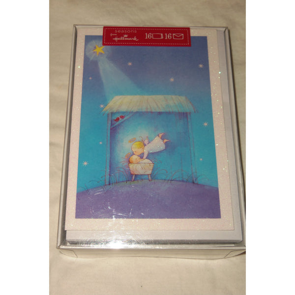 "seasons from Hallmark Angel in Manger Christmas Cards 16 & Envelopes 7""x4.75"""