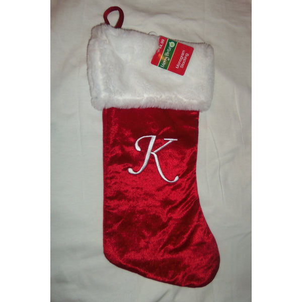 "18"" Red Christmas Stocking White Monogram with Letter by Merry Brite"