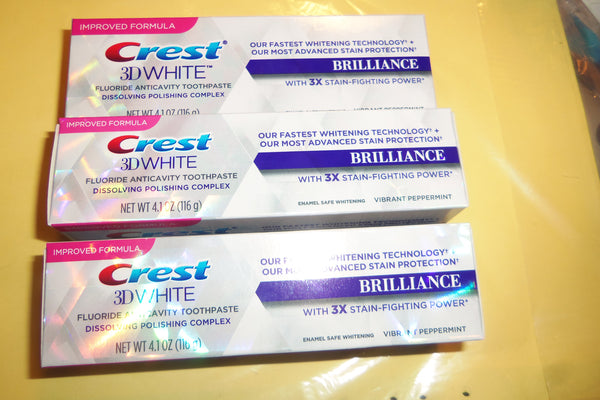 Crest 3D White Brilliance Toothpaste EXP 8/18 Lot 3