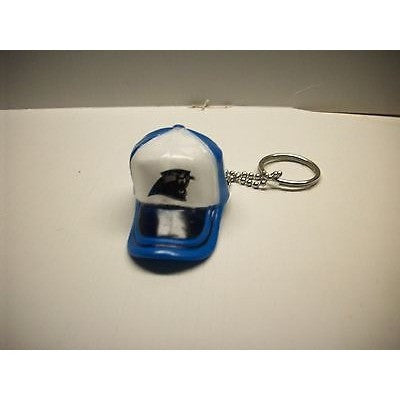 "NFL Carolina Panthers Key Chain Key Ring Keyring 2"" Mini Hat 2-Tone Plastic Cap"