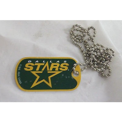 "NHL Dallas Stars Logo on Dog Tag 2""x1"" w/ 21"" Ball Chain Necklace"