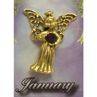 January Guardian Angel Pin Birthstone Antiqued Gold Plated Message Miracles