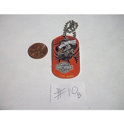 "Harley Davidson Aluminum Dog Tag 2""x1"" Key Chain Live to Ride Dragon on Red #10B"