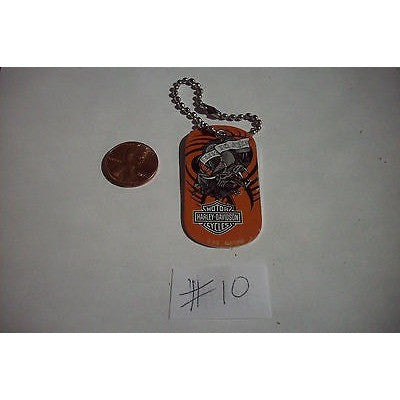 "Harley Davidson Aluminum Dog Tag 2""x1"" Key Chain Live to Ride Dragon Orange #10"