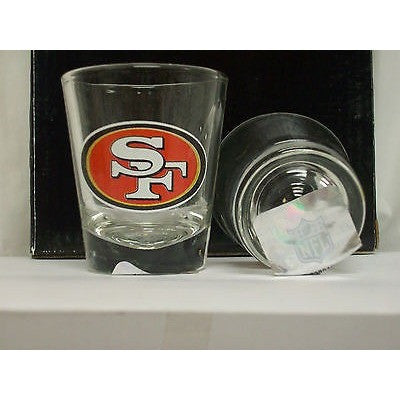 NFL San Francisco 49ers Team Logo on Clear 2 fl oz Shot Glass Hunter