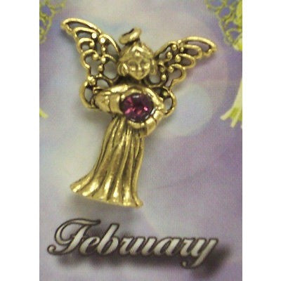 February Guardian Angel Pin Birthstone Antiqued Gold Plated Message Miracles