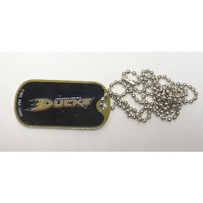 "NHL Anaheim Ducks Logo on Dog Tag 2""x1"" w/ 21"" Ball Chain Necklace"