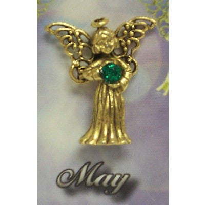 May Guardian Angel Pin Birthstone Antiqued Gold Plated Message Miracles