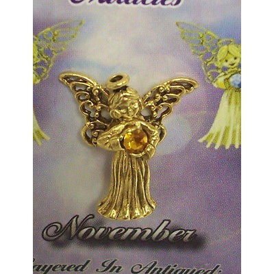 November Guardian Angel Pin Birthstone Antiqued Gold Plated Message Miracles