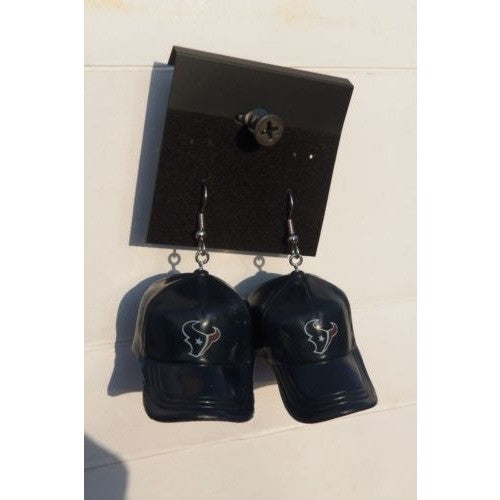 "NFL Dangling Houston Texans Earrings Mini 2"" Solid Color Plastic Hat From Top"