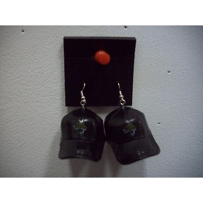 "NFL Dangling Jacksonville Jaguars Earrings Mini 2"" Solid Color Plastic Hat From Top"