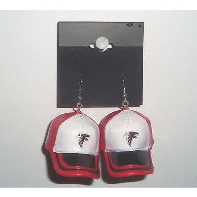 "NFL Dangling Atlanta Falcons Dangling Earrings Mini 2"" Plastic 2-Tone Hat From Top"
