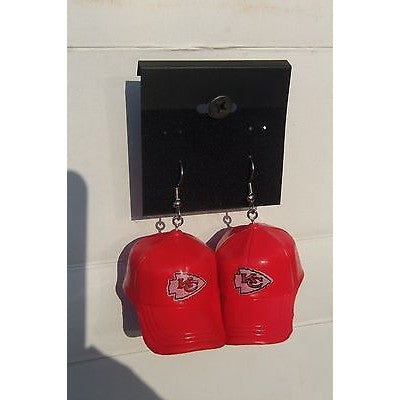 "NFL Dangling Kansas City Chiefs Earrings Mini 2"" Solid Color Plastic Hat From Top"