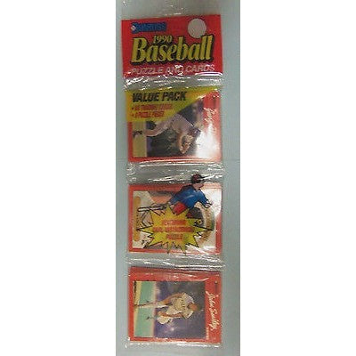 Two 1990 MLB DONRUSS BASEBALL PUZZLE AND CARDS VALUE PACK 48 CARDS 9 PUZZLE PIECES