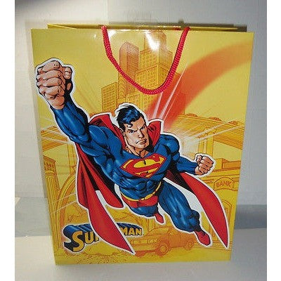 "3D Spring Attached Flying Superman Gift Bag 13"" Tall x 10.5"" Wide x 6"" Deep"