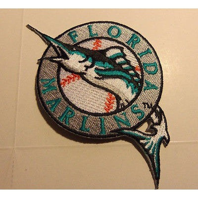 "MLB Florida Marlins 1993-2011 Primary Logo 2.5"" x 4"" Iron-On Patch"