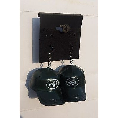 "NFL Dangling New York Jets Earrings Mini 2"" Solid Color Plastic Hat From Top"