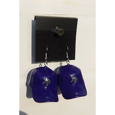 "NFL Dangling Minnesota Vikings Earrings Mini 2"" Solid Color Plastic Hat From Top"