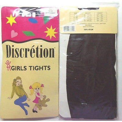 "Discretion Girls Tights Color Burgundy Size 12-14 Height: 56""-60"""