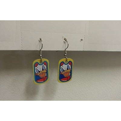 "Disney Dangling Earrings Donald Face Image 5/8"" x 1 1/8"" Overall 1 3/4"" Height"