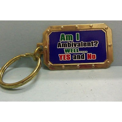 "Am I Ambivalent? Well Yes and No Gold Tone 2.25"" by 1.25"" Key Ring"