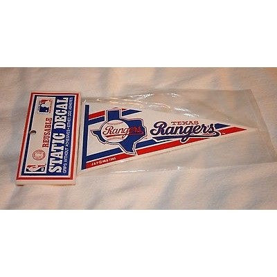 Vintage 1989 Texas Rangers Pennant Shaped Static Decal Cling Sticker Window Car