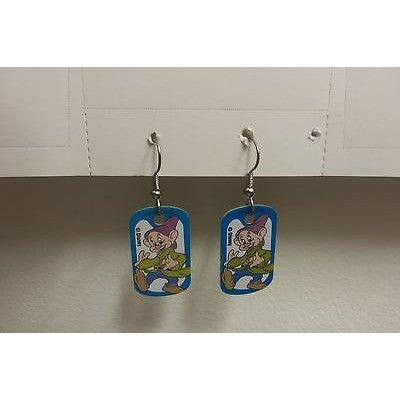 "Disney Dangling Earrings Dopey Standing Image 5/8"" x 1 1/8"" Overall 1 3/4"""