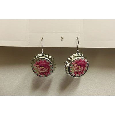 "Disney CHESHIRE Cat Dangling Earrings on Chromed 1 1/4"" Plastic Bottle Cap"