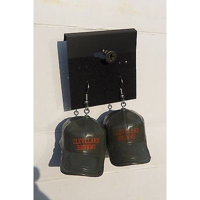"NFL Dangling Cleveland Browns Earrings Mini 2"" Solid Color Plastic Hat From Top"