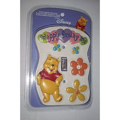 "WINNIE THE POOH SINGLE LIGHT SWITCH COVER Wallplate ""HAPPY BEEING ME"""