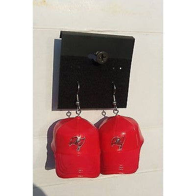 "NFL Dangling Tampa Bay Buccaneers Earrings Mini 2"" Solid Color Plastic Hat From Top"